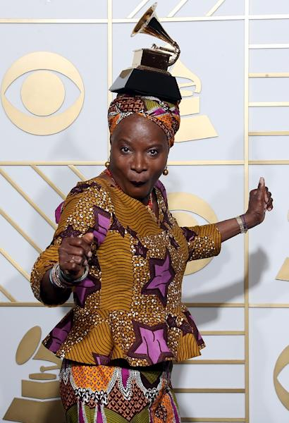 "This is the second straight year that Kidjo has won the Best World Music Album prize, after last year's ""Eve"" that paid tribute to African women (AFP Photo/Frederick M. Brown)"