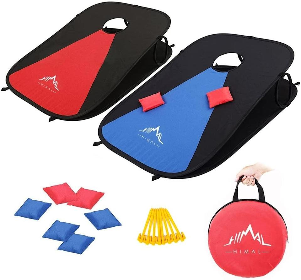 """<p>They'll enjoy competing with friends when playing with these fun <a href=""""https://www.popsugar.com/buy/Himal-Collapsible-Portable-Corn-Hole-Boards-588045?p_name=Himal%20Collapsible%20Portable%20Corn%20Hole%20Boards&retailer=amazon.com&pid=588045&price=40&evar1=moms%3Aus&evar9=32519221&evar98=https%3A%2F%2Fwww.popsugar.com%2Ffamily%2Fphoto-gallery%2F32519221%2Fimage%2F44850256%2FHimal-Collapsible-Portable-Corn-Hole-Boards&list1=gifts%2Choliday%2Cgift%20guide%2Cgifts%20for%20kids%2Ckid%20shopping%2Ctweens%20and%20teens%2Cgifts%20for%20teens&prop13=api&pdata=1"""" class=""""link rapid-noclick-resp"""" rel=""""nofollow noopener"""" target=""""_blank"""" data-ylk=""""slk:Himal Collapsible Portable Corn Hole Boards"""">Himal Collapsible Portable Corn Hole Boards </a> ($40).</p>"""