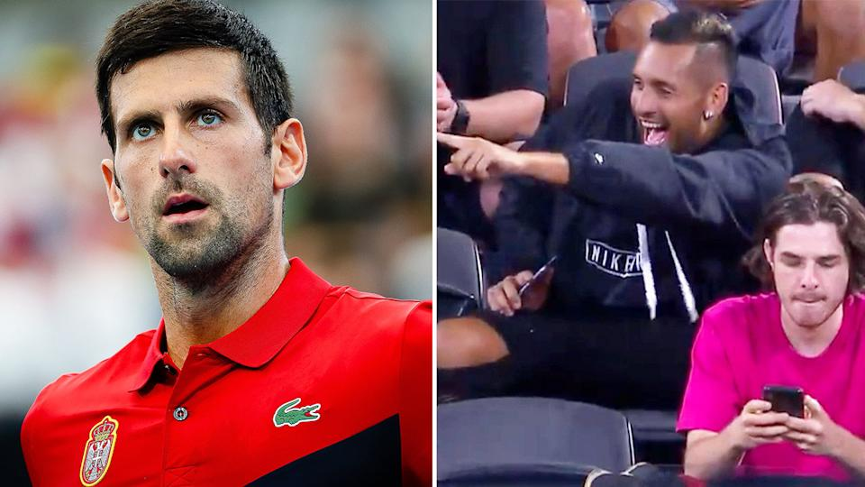 Nick Kyrgios, pictured here appearing to heckle Novak Djokovic at the ATP Cup.