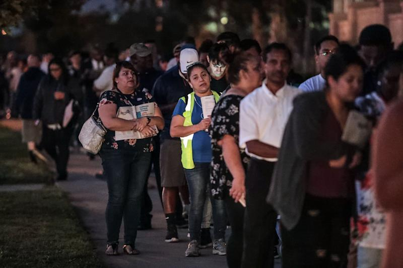 Voters in line to vote at the County of Riverside Registrar of Voters in Riverside on Tuesday, November 6, 2018. Many in line are sameday registers.