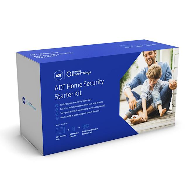 ADT kit includes a touch screen panel, two window and door sensors and a motion detector.