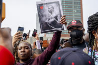 """People gather for a """"Celebration of Life Memorial"""" for rapper DMX at Barclays Center, Saturday, April. 24, 2021, in the Brooklyn borough of New York. DMX, whose birth name is Earl Simmons, died April 9 after suffering a """"catastrophic cardiac arrest."""" (AP Photo/Brittainy Newman)"""