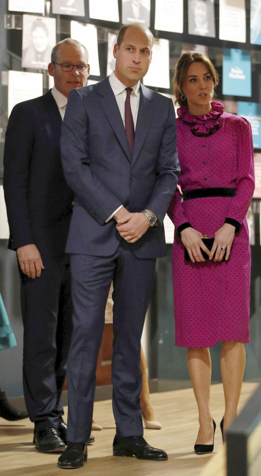 Britain's Prince William and Kate, Duchess of Cambridge attend a reception held by Irish Tanaiste, Simon Coveney, in Dublin, Ireland, Wednesday, March 4, 2020, as part of their three-day visit to Ireland. (Phil Noble/Pool Photo via AP)
