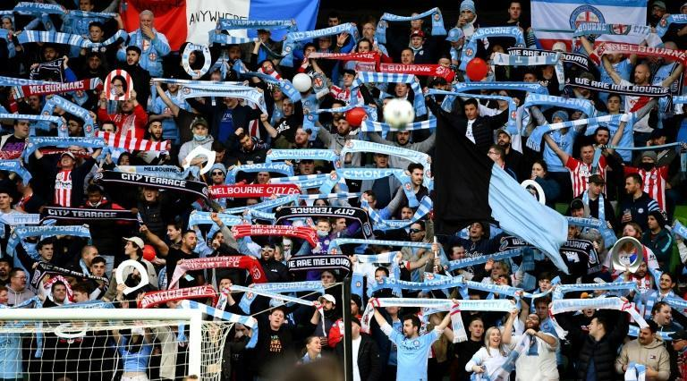 About 15,000 fans, the most allowed under coronavirus rules, packed Melbourne's AAMI Park for the A-League final