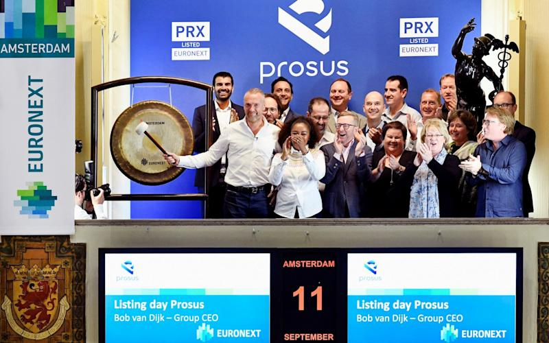 Prosus, the new technology-focused spin off from Naspers, saw its shares soar 32pc in early trading after it listed on Euronext, a European stock exchange.    - REUTERS