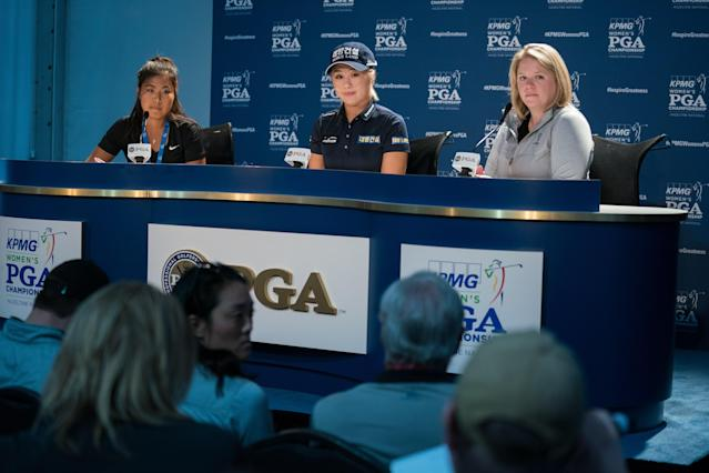 """<h1 class=""""title"""">lee6 and jennifer kim 65th KPMG Womens PGA Championship</h1> <div class=""""caption""""> CHASKA, MN - JUNE 19: Jeongeun Lee6 of the Republic of Korea speaks at a press conference during the practice round for the 65th KPMG Womens PGA Championship held at Hazeltine National Golf Club on June 19, 2019 in Chaska, Minnesota. (Photo by Darren Carroll/PGA of America via Getty images </div> <cite class=""""credit"""">Darren Carroll</cite>"""