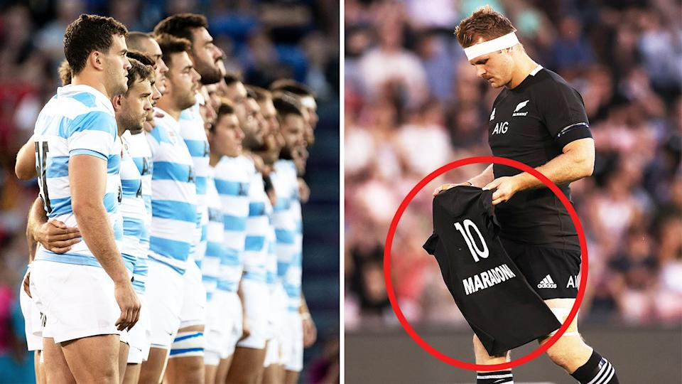 Sam Cane (pictured right) lays down an All Blacks jersey with Maradona's name and number and the Argentina team (pictured left) line-up.