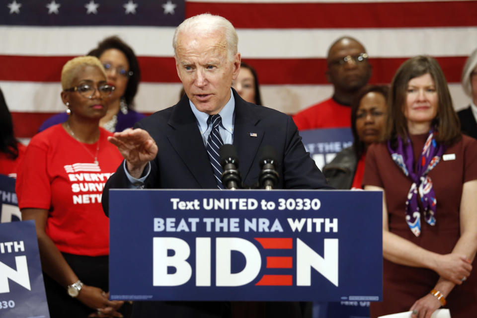 FILE - In this file photo from March 10, 2020, Democratic presidential candidate, former Vice President Joe Biden speaks at a campaign event in Columbus, Ohio. The presidential election outlook in the Buckeye State has gotten a little nuttier. Ohio Republicans are trying to rally and present a united front heading into their party's national convention, following a week when one of their best-known politicians spoke for Biden to the Democrats' convention, and their state attorney general challenged President Donald Trump about his mail policy. (AP Photo/Paul Vernon, File)