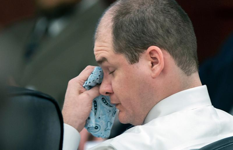 Timothy Jones Jr wipes his eyes during his trial in a court in Lexington, South Carolina. Source: AP