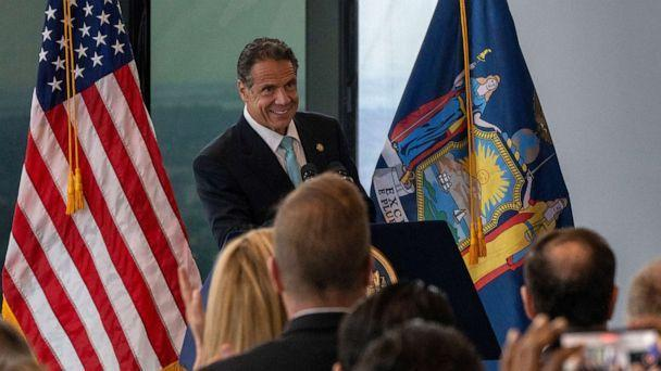 PHOTO: New York Gov. Andrew Cuomo speaks during a press conference at One World Trade Center, June 15, 2021, in New York City. (David Dee Delgado/Getty Images)