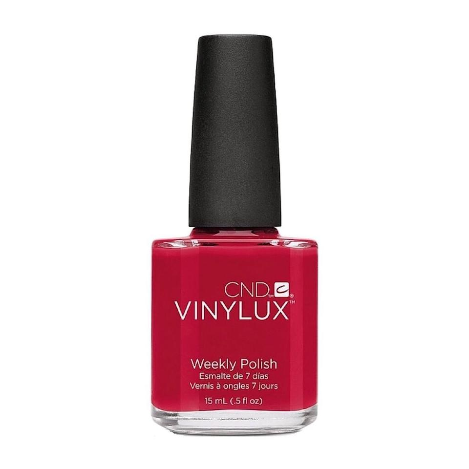 """<p>Red shades with a touch of blue are ideal for fair skin, which tends to have cooler undertones. """"A classic red — think crimson or cardinal — contrasts with pale skin just enough to leave your hands looking crisp and clean,"""" says Sally Hansen manicurist Madeline Poole. If you want to go a bit darker, try a rich raspberry or make a statement with a deep cherry red. Just make sure it doesn't look too close to black against your fair skin. As a rule, stay away from warm reds or corals; they emphasize the natural ruddiness often found in pale skin.</p> <p>Our picks:</p> <ul> <li><strong>CND Vinylux Long Wear Polish in Rouge Red, $9</strong> (<a href=""""https://shop-links.co/1682933820378385081"""" rel=""""nofollow"""">Shop Now</a>)</li> <li><strong>Essie Nail Polish in Be Cherry, $9</strong> (<a href=""""https://shop-links.co/1682934047051059964"""" rel=""""nofollow"""">Shop Now</a>)</li> </ul>"""