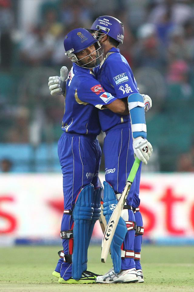 Ajinkya Rahane of Rajasthan Royals congratulates Rajasthan Royals captain Rahul Dravid for reaching his fifty during match 52 of the Pepsi Indian Premier League (IPL) 2013 between The Rajasthan Royals and the Delhi Daredevils held at the Sawai Mansingh Stadium in Jaipur on the 7th May 2013..Photo by Shaun Roy-IPL-SPORTZPICS  ..Use of this image is subject to the terms and conditions as outlined by the BCCI. These terms can be found by following this link:..https://ec.yimg.com/ec?url=http%3a%2f%2fwww.sportzpics.co.za%2fimage%2fI0000SoRagM2cIEc&t=1493565374&sig=uucK1qWLUS9bjYqsgCHYKg--~C