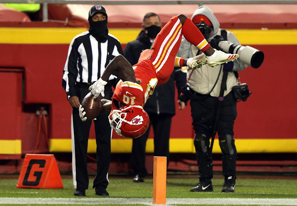 Tyreek Hill backflips over the goal line on a play that was called back due to a holding penalty.