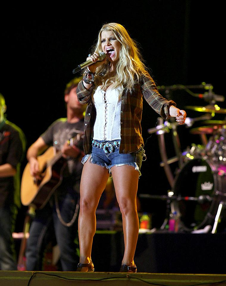 """Unfortunately, Jessica Simpson dusted off her Daisy Dukes during a concert stop at the Florida Strawberry Festival. Will she ever learn? SDFL/<a href=""""http://www.splashnewsonline.com"""" target=""""new"""">Splash News</a> - March 8, 2009"""