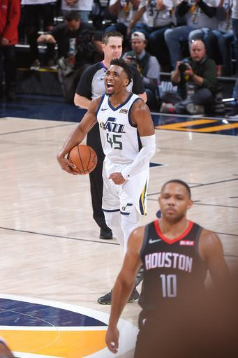 SALT LAKE CITY, UT - APRIL 22: Donovan Mitchell #45 of the Utah Jazz shows emotion against the Houston Rockets during Game Four of Round One of the 2019 NBA Playoffs on April 22, 2019 at vivint.SmartHome Arena in Salt Lake City, Utah. (Photo by Bill Baptist/NBAE via Getty Images)
