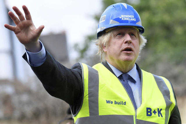 Britain's Prime Minister Boris Johnson visits the construction site of Ealing Fields High School in west London, Monday June 29, 2020. Photo: Toby Melville/Pool via AP