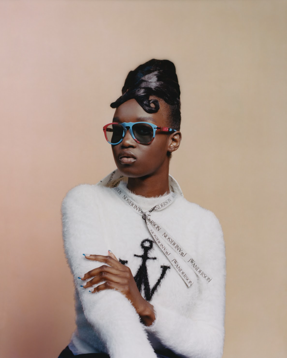 """<cite class=""""credit"""">Photographed by Tyler Mitchell; Courtesy of Persol x JW Anderson</cite>"""
