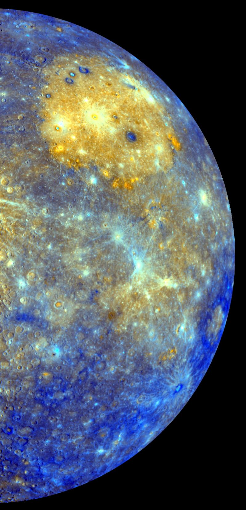 This image released by NASA shows an enhanced photo image of Mercury from its Messenger probe's 2008 flyby of the planet. NASA says it was a taste of pictures likely to come after March 17, 2011, when the probe enters Mercury's orbit. This photo shows the eastern part of the smallest and closest planet in our solar system. The colors in this picture are different than what would be seen with the naked eye, but show information about the different rock types and subtle color variations on the oddball planet. The bright yellow part is the Caloris impact basin, which is the site of one of the biggest in the solar system. For the first time, Earth has a regular orbiting eye-in-the-sky spying on the solar system's smallest and strangest planet, Mercury. NASA's spacecraft called Messenger successfully veered into a pinpoint orbit Thursday night after a 6 1/2-year trip and 4.9 billion miles and tricky maneuvering to fend off the gravitational pull of the sun. It is the fifth planet in our solar system that NASA has orbited, in addition to the Earth and the moon. (AP Photo/NASA/Johns Hopkins University Applied Physics Laboratory/Arizona State University/Carnegie Institution of Washington)