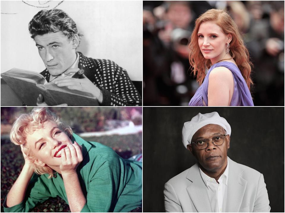 Clockwise from top left: Peter O'Toole, Jessica Chastain, Samuel L Jackson, Marilyn Monroe (Getty Images)