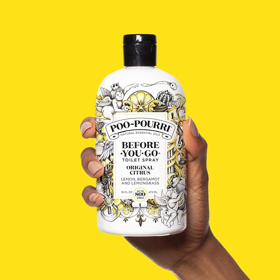 <p>Get rid of the smell immediately after you poop with this <span>Poo-Pourri Before-You-Go Toilet Spray</span> ($23, originally $30). I honestly swear by it.</p>