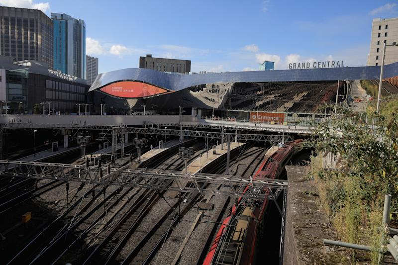 BIRMINGHAM, ENGLAND - OCTOBER 13: A general view of the mirrored exterior of the newly revamped Birmingham New Street Station and the Grand Central shopping complex on October 13, 2015 in Birmingham, England. The revamped Birmingham New Street station and Grand Central shopping complex was unveiled last month following a 750 GBP million-pound refurbishment. (Photo by Christopher Furlong/Getty Images)