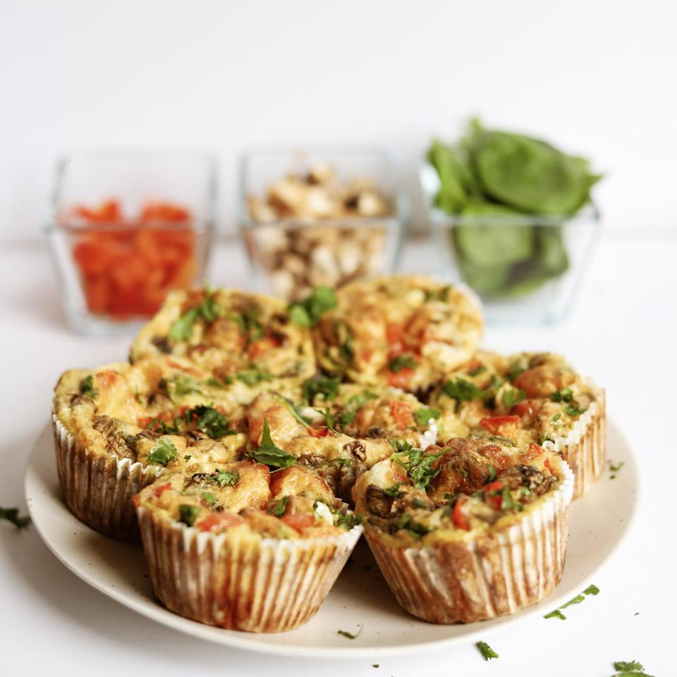 <h2>Directions</h2> <ol> <li>Preheat oven to 350°F.</li> <li>Spray muffin tin with oil.</li> <li>Crack the eggs into a large bowl.</li> <li>Add the egg whites, mushrooms, spinach, red bell pepper, mozzarella, salt, black pepper, paprika, and garlic powder. Whisk to combine.</li> <li>Evenly divide the egg mix between the cups of the muffin tin, filling each one up about three quarters of the way.</li> <li>Bake for about 25 minutes or just until the eggs are set.</li> <li>Store in the refrigerator to enjoy throughout the week.</li> </ol>