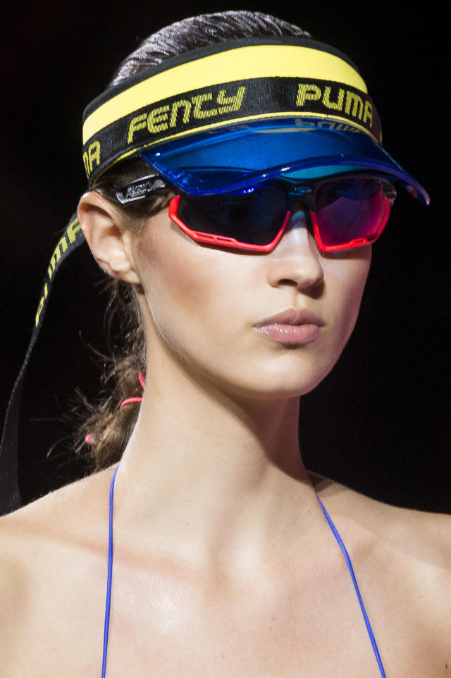 <p><i>Blue visor from the SS18 Fenty Puma collection. (Photo: ImaxTree) </i></p>