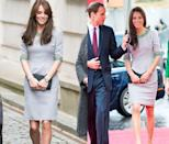 <p>Duchess Kate picked this gray Matthew Williamson dress with turquoise embellishment in April 2012 and November 2015. </p>