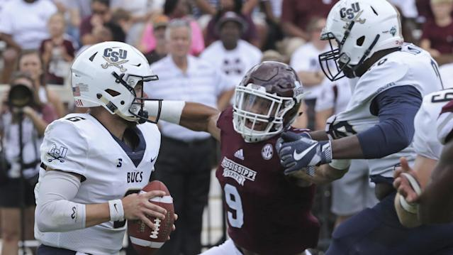 Mississippi State's Montez Sweat (9) leads the SEC in sacks. (AP Photo/Jim Lytle)
