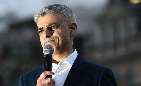 Mayor of London Sadiq Khan speaks at a screening of Asghar Farhadi's film The Salesman in Trafalgar Square in London