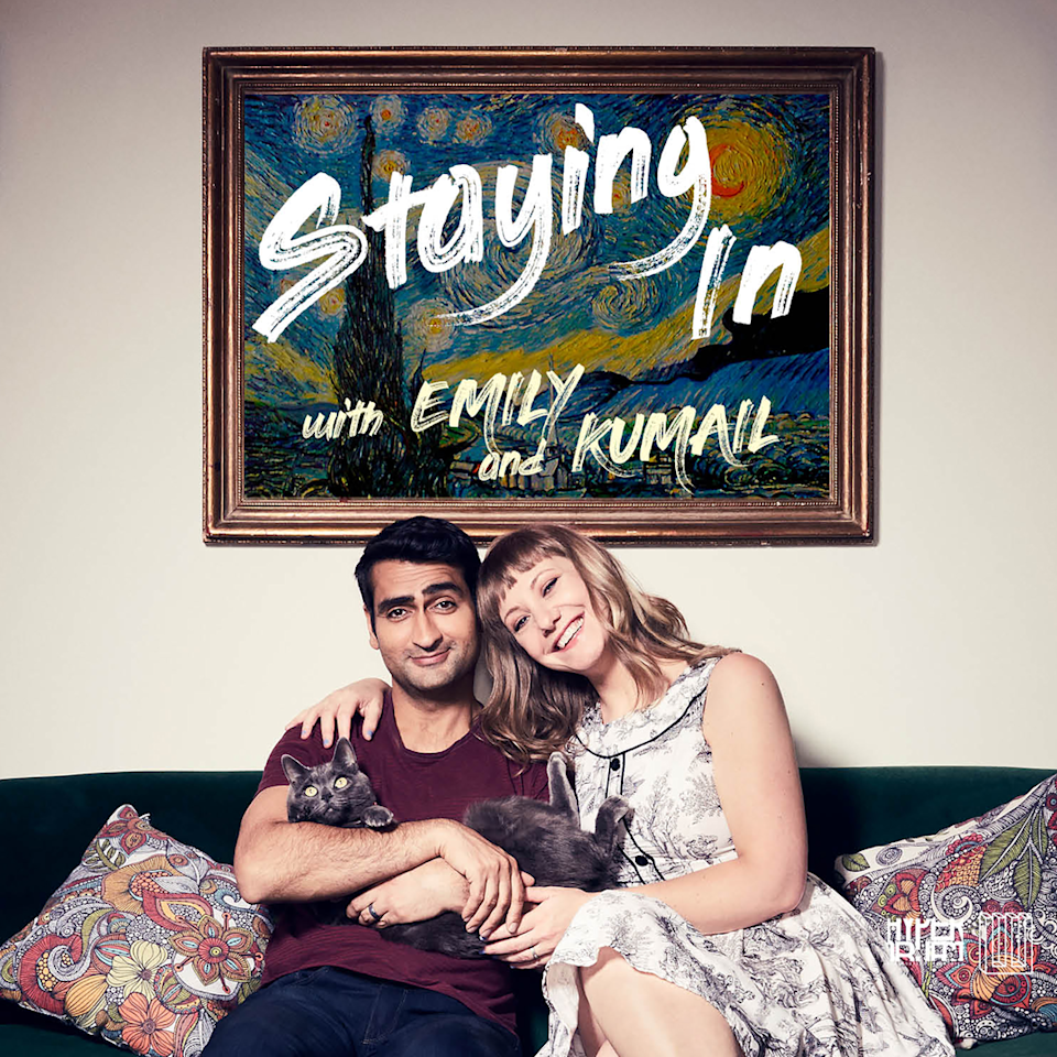 """<p>A couple with some quarantine experience under their belt, <em>Silicon Valley </em>star Kumail Nanjiani and writer and therapist Emily V. Gordon set out to share what they know for your benefit. As detailed in their film <em><a href=""""https://www.amazon.com/Big-Sick-Kumail-Nanjiani/dp/B089XYBLJV/?tag=syn-yahoo-20&ascsubtag=%5Bartid%7C10051.g.32409173%5Bsrc%7Cyahoo-us"""" rel=""""nofollow noopener"""" target=""""_blank"""" data-ylk=""""slk:The Big Sick"""" class=""""link rapid-noclick-resp"""">The Big Sick</a>, </em>Emily has serious health issues that have required her to isolate even before COVID. The podcast, which benefits coronavirus-related causes, is full of recommendations for passing the time at home and features guests like Issa Rae, Edgar Wright, and Nicole Byer.</p><p><a class=""""link rapid-noclick-resp"""" href=""""https://www.stitcher.com/show/staying-in-with-emily-kumail"""" rel=""""nofollow noopener"""" target=""""_blank"""" data-ylk=""""slk:Listen Now"""">Listen Now</a></p>"""