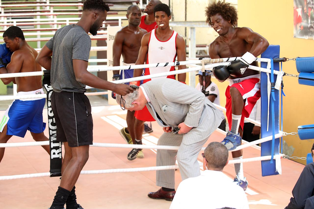 <p>Charles steps into the ring at Rafael Trejo boxing gym in Havana [Photo: Getty] </p>