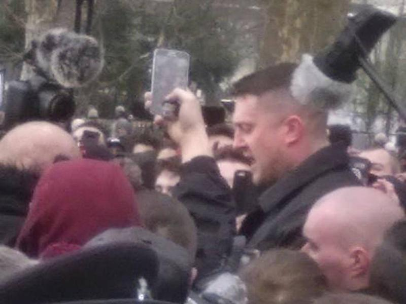 Tommy Robinson could be seen but barely heard (Dev Maitra)