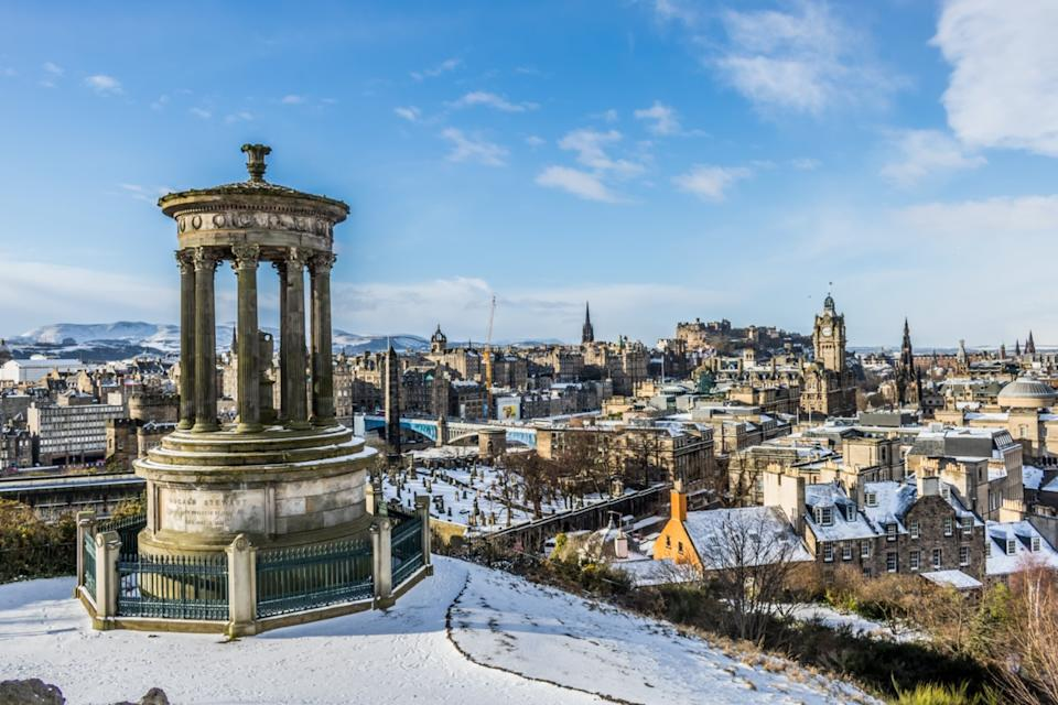 Aerial view of snow-covered Edinburgh Scotland