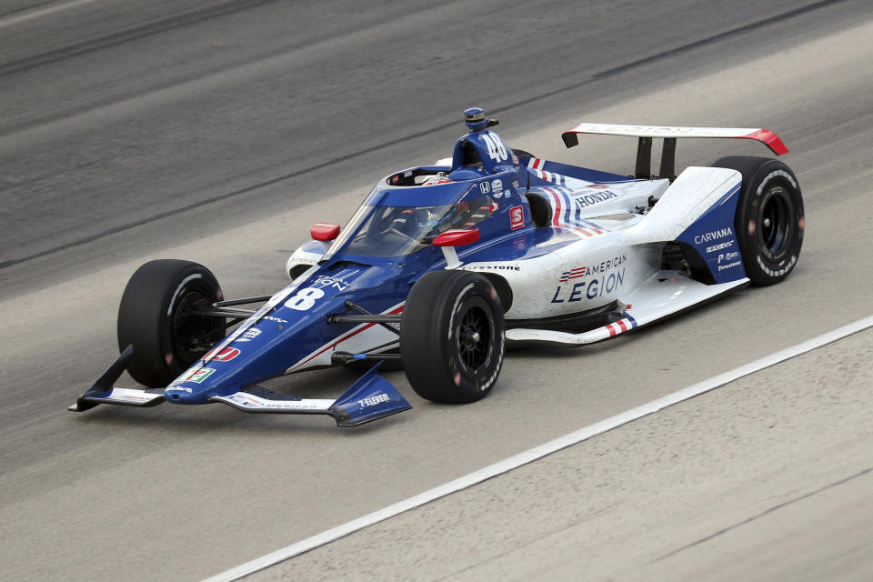 FILE - Tony Kanaan competes during an IndyCar Series auto race at Texas Motor Speedway in Fort Worth, Texas, in this Sunday, May 2, 2021, file photo. With nine career starts at Gateway, Kanaan has the most experience at the track of any driver in the field. (AP Photo/Richard W. Rodriguez, File)