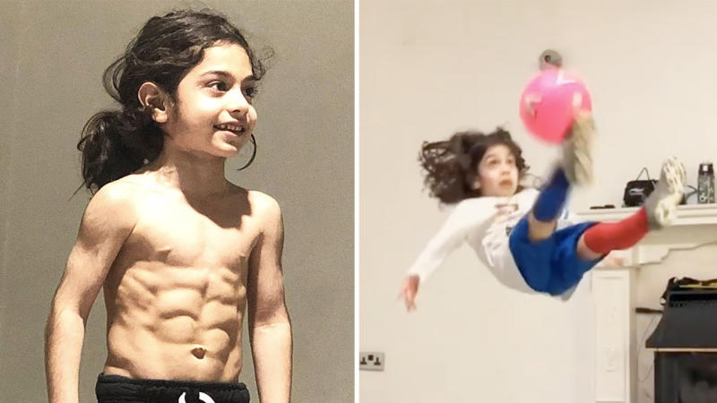 Arat Houssini showing off his toned physique (pictured left) and performing a bicycle kick (pictured right).