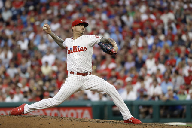 Philadelphia Phillies' Vince Velasquez pitches during the second inning of the team's baseball game against the Boston Red Sox, Wednesday, Aug. 15, 2018, in Philadelphia. (AP Photo/Matt Slocum)