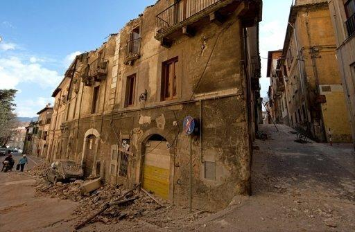 A view of a quake-devastated street in L'Aquila. Six Italian scientists and a government official were sentenced to six years in jail on Monday for multiple manslaughter in a watershed ruling that found them guilty of underestimating the risks of a killer earthquake in 2009