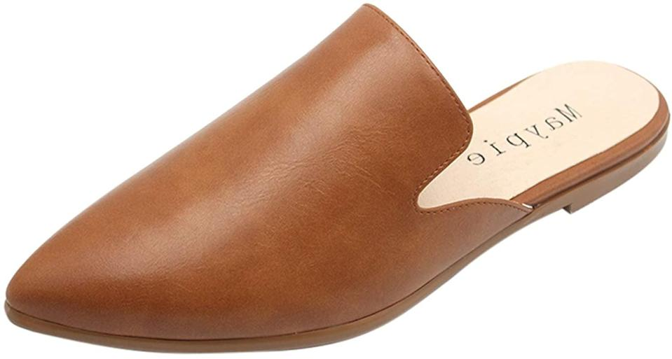 <p>You can dress up or dress down these comfortable <span>Maypie Womens Flat Mules Pointed Closed Toe Slip On Loafers</span> ($40).</p>