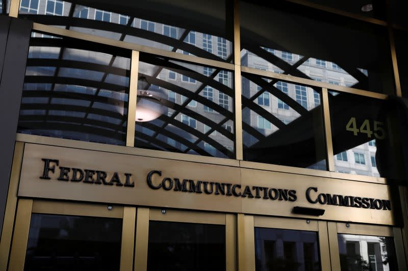 Signage is seen at the headquarters of the Federal Communications Commission in Washington, D.C.