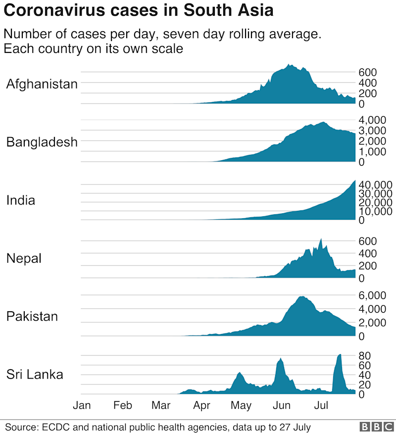Charts showing cases in S Asian countries