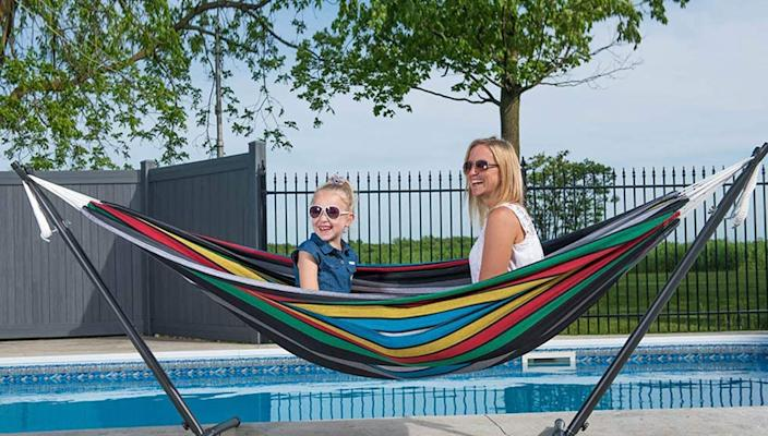 You can nap your worries away in this colorful hammock set.
