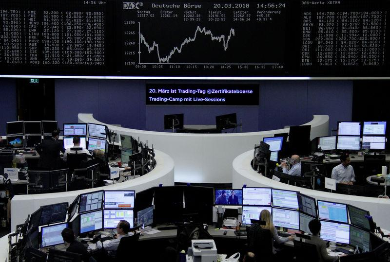 The German share price index, DAX board, is seen at the stock exchange in Frankfurt, Germany, March 20, 2018. REUTERS/Staff/Remote/Files