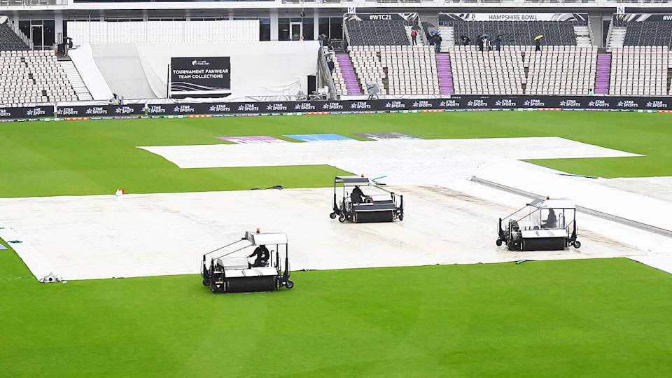 Groundstaff, pictured here working on the covers on day four of the ICC World Test Championship final.