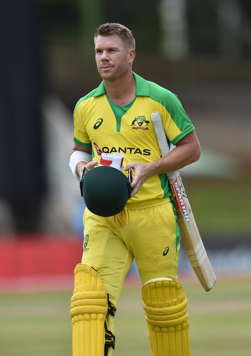 David Warner looks disappointed after being caught by Malan off the bowling of Ngidi.