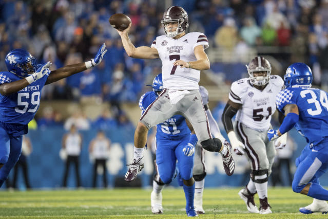 Mississippi State quarterback Nick Fitzgerald (7) passes the ball during an NCAA college football game against Kentucky in Lexington, Ky., Saturday, Sept. 22, 2018. (AP Photo/Bryan Woolston)