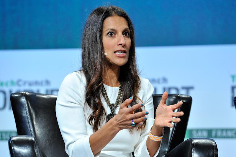 SAN FRANCISCO, CA - SEPTEMBER 23: Sukhinder Singh Cassidy of Joyus speaks onstage during TechCrunch Disrupt SF 2015 at Pier 70 on September 23, 2015 in San Francisco, California. (Photo by Steve Jennings/Getty Images for TechCrunch)