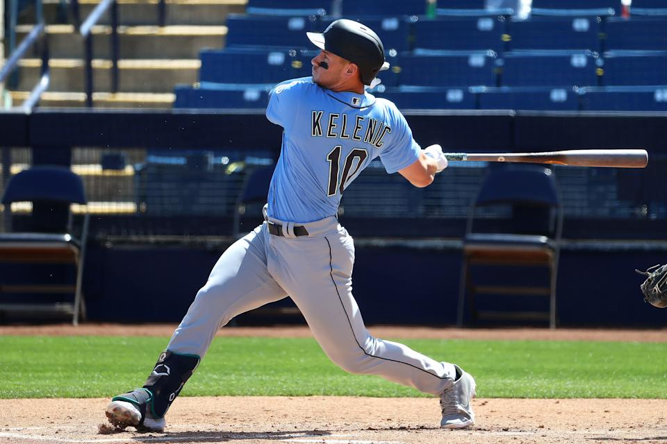PHOENIX, ARIZONA - MARCH 21: Jarred Kelenic #10 of the Seattle Mariners hits a solo home run in the second inning against the Milwaukee Brewers during the MLB spring training game at American Family Fields of Phoenix on March 21, 2021 in Phoenix, Arizona. (Photo by Abbie Parr/Getty Images)