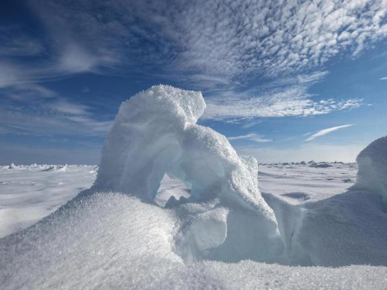 Hoarfrost and sea ice formations in the Arctic Ocean (Bonnie Jo Mount)