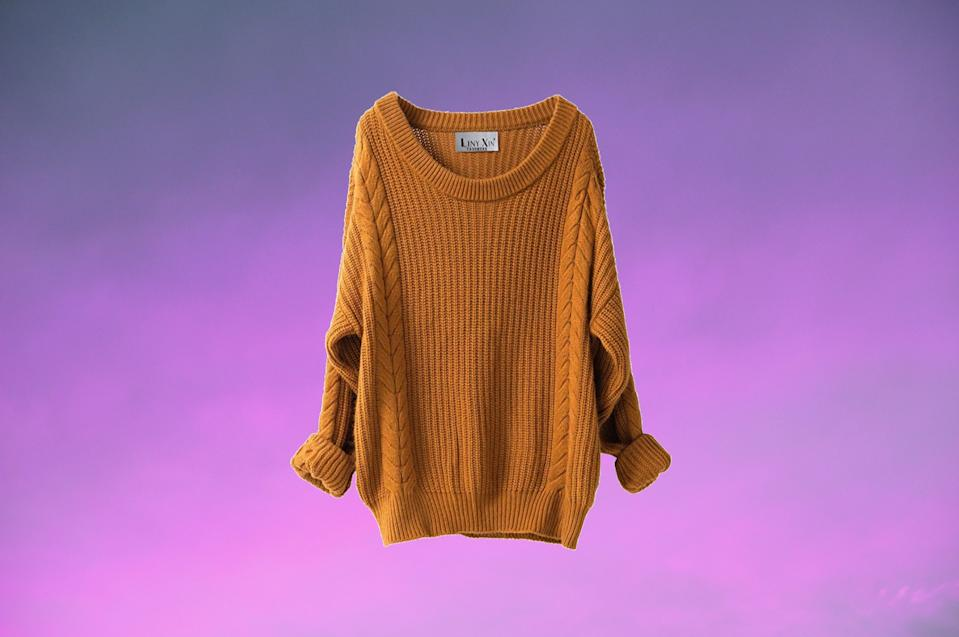 This oversized sweater doubles as a sweater dress. (Photo: Amazon)